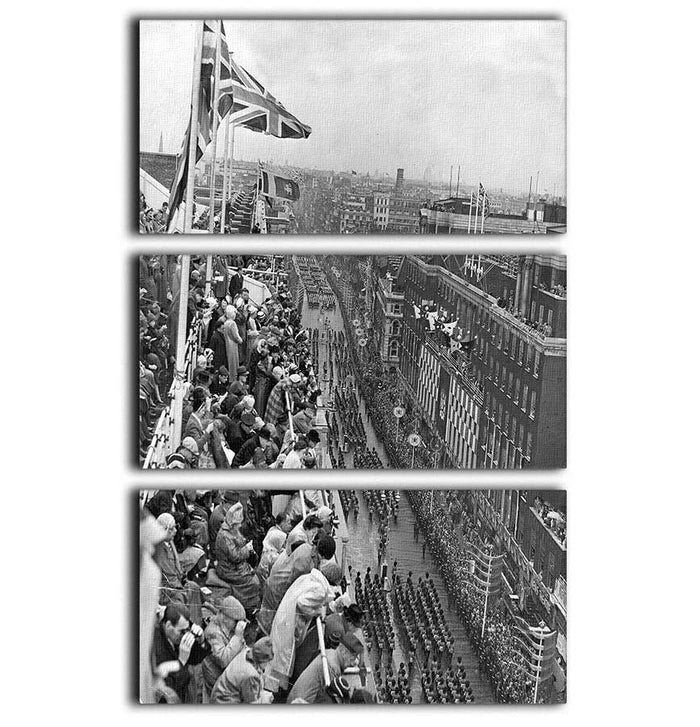 Queen Elizabeth II Coronation procession pass on Oxford Street 3 Split Panel Canvas Print