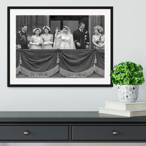 Queen Elizabeth II Wedding family group on balcony Framed Print - Canvas Art Rocks - 1