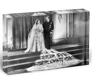 Queen Elizabeth II Wedding portrait of the couple at the palace Acrylic Block - Canvas Art Rocks - 1