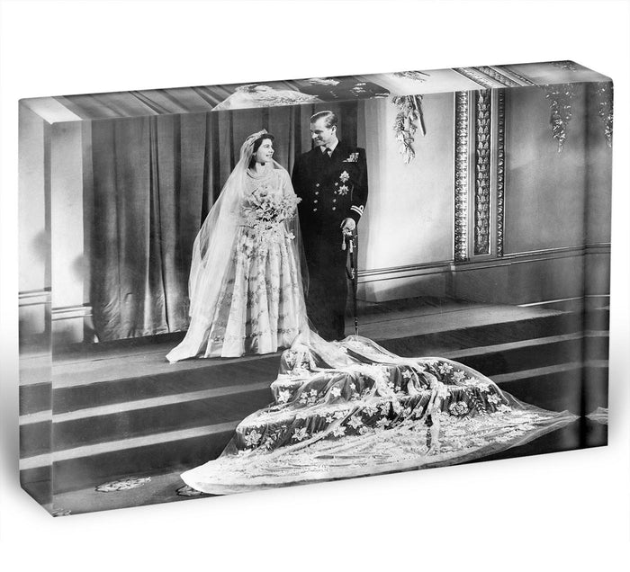 Queen Elizabeth II Wedding portrait of the couple at the palace Acrylic Block