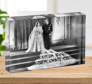 Queen Elizabeth II Wedding portrait of the couple at the palace Acrylic Block - Canvas Art Rocks - 2