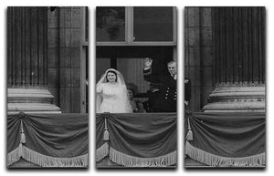Queen Elizabeth II Wedding the couple wave from the balcony 3 Split Panel Canvas Print - Canvas Art Rocks - 1