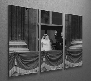 Queen Elizabeth II Wedding the couple wave from the balcony 3 Split Panel Canvas Print - Canvas Art Rocks - 2