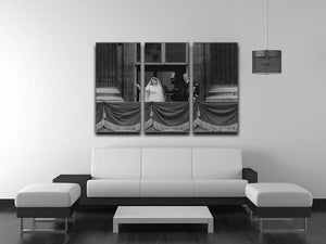 Queen Elizabeth II Wedding the couple wave from the balcony 3 Split Panel Canvas Print - Canvas Art Rocks - 3