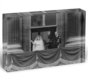 Queen Elizabeth II Wedding the couple wave from the balcony Acrylic Block - Canvas Art Rocks - 1