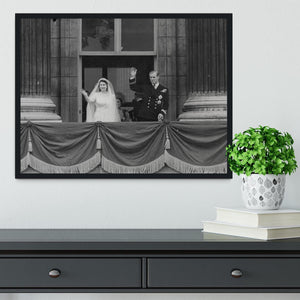 Queen Elizabeth II Wedding the couple wave from the balcony Framed Print - Canvas Art Rocks - 2