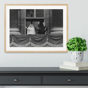 Queen Elizabeth II Wedding the couple wave from the balcony Framed Print - Canvas Art Rocks - 3