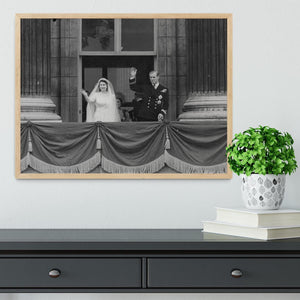 Queen Elizabeth II Wedding the couple wave from the balcony Framed Print - Canvas Art Rocks - 4