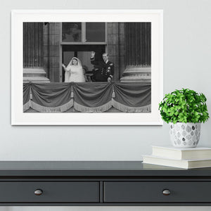 Queen Elizabeth II Wedding the couple wave from the balcony Framed Print - Canvas Art Rocks - 5