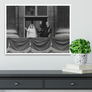Queen Elizabeth II Wedding the couple wave from the balcony Framed Print - Canvas Art Rocks -6