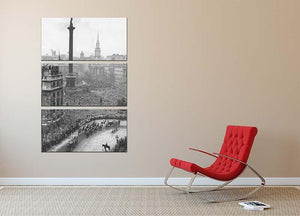 Queen Elizabeth II Wedding wedding coach in Trafalgar Square 3 Split Panel Canvas Print - Canvas Art Rocks - 2