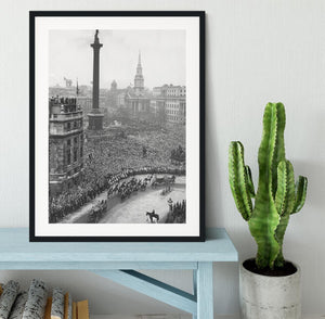 Queen Elizabeth II Wedding wedding coach in Trafalgar Square Framed Print - Canvas Art Rocks - 1