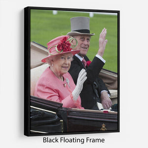 Queen Elizabeth II and Prince Philip in their carriage at Ascot Floating Frame Canvas