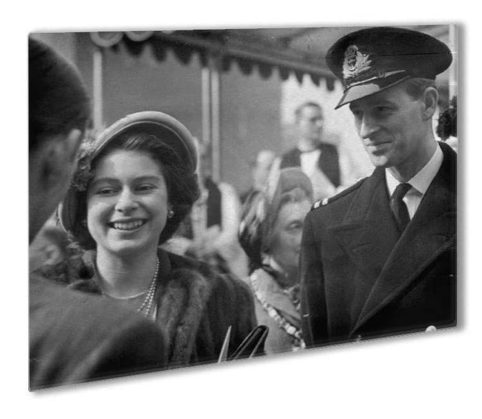 Queen Elizabeth II and Prince Philip touring as young couple Outdoor Metal Print