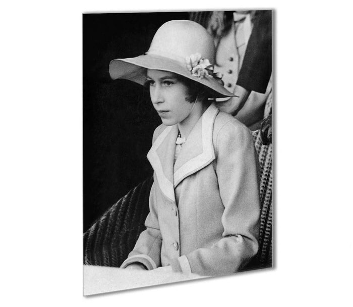Queen Elizabeth II as a child seated in a hat Outdoor Metal Print