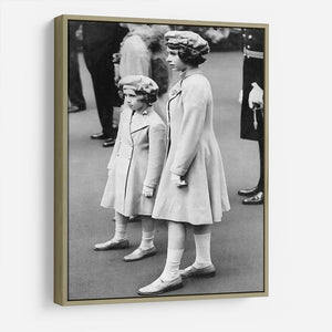 Queen Elizabeth II as a child with her sister in matched outfits HD Metal Print