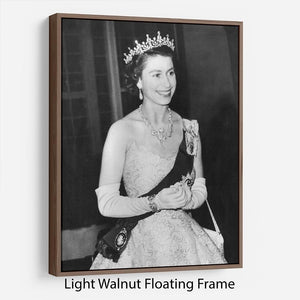 Queen Elizabeth II during her Coronation tour Floating Frame Canvas