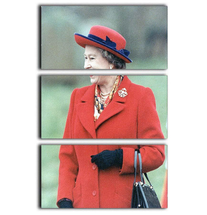 Queen Elizabeth II in a striking red coat at church in Norfolk 3 Split Panel Canvas Print