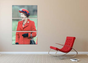 Queen Elizabeth II in a striking red coat at church in Norfolk 3 Split Panel Canvas Print - Canvas Art Rocks - 2