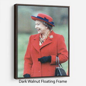 Queen Elizabeth II in a striking red coat at church in Norfolk Floating Frame Canvas