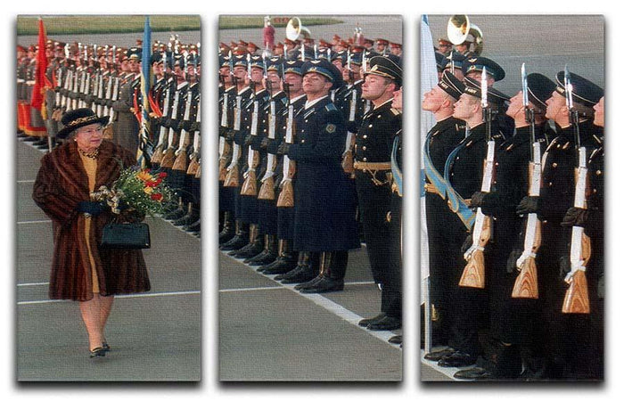 Queen Elizabeth II inspecting the guard of honour in Moscow 3 Split Panel Canvas Print