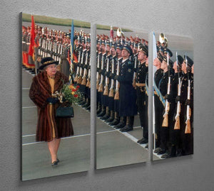 Queen Elizabeth II inspecting the guard of honour in Moscow 3 Split Panel Canvas Print - Canvas Art Rocks - 2