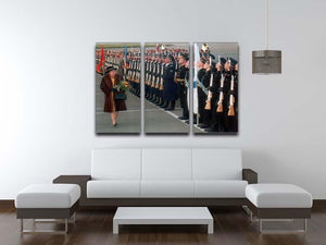 Queen Elizabeth II inspecting the guard of honour in Moscow 3 Split Panel Canvas Print - Canvas Art Rocks - 3