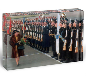 Queen Elizabeth II inspecting the guard of honour in Moscow Acrylic Block - Canvas Art Rocks - 1