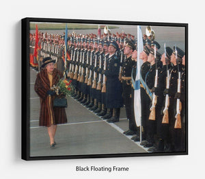 Queen Elizabeth II inspecting the guard of honour in Moscow Floating Frame Canvas