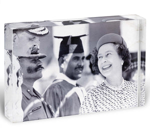 Queen Elizabeth II laughing during her tour of India Acrylic Block - Canvas Art Rocks - 1