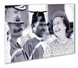 Queen Elizabeth II laughing during her tour of India Outdoor Metal Print - Canvas Art Rocks - 1