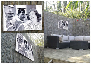 Queen Elizabeth II laughing during her tour of India Outdoor Metal Print - Canvas Art Rocks - 2