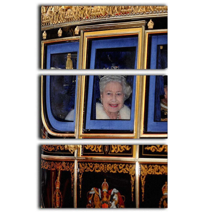 Queen Elizabeth II leaving the State Opening of Parliament 3 Split Panel Canvas Print