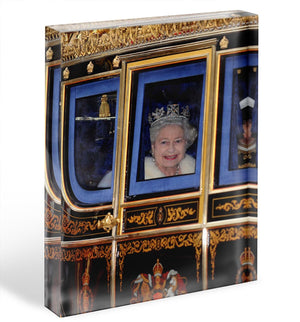 Queen Elizabeth II leaving the State Opening of Parliament Acrylic Block - Canvas Art Rocks - 1