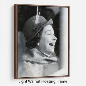 Queen Elizabeth II looking pleased at the Badminton Horse Trials Floating Frame Canvas