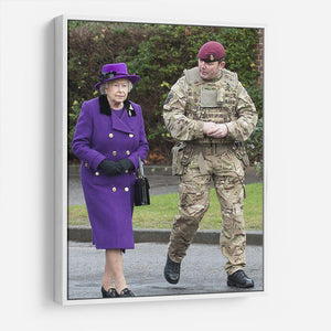 Queen Elizabeth II meeting members of the Household Cavalry HD Metal Print