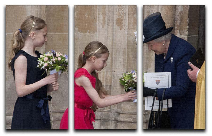 Queen Elizabeth II receiving flowers at a VE Day ceremony 3 Split Panel Canvas Print