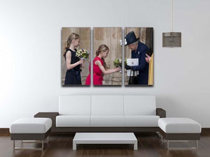 Queen Elizabeth II receiving flowers at a VE Day ceremony 3 Split Panel Canvas Print - Canvas Art Rocks - 3