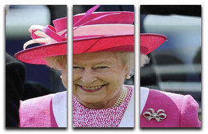 Queen Elizabeth II smiling at the Derby 3 Split Panel Canvas Print - Canvas Art Rocks - 1