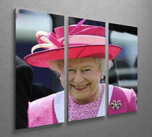 Queen Elizabeth II smiling at the Derby 3 Split Panel Canvas Print - Canvas Art Rocks - 2