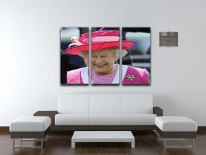 Queen Elizabeth II smiling at the Derby 3 Split Panel Canvas Print - Canvas Art Rocks - 3