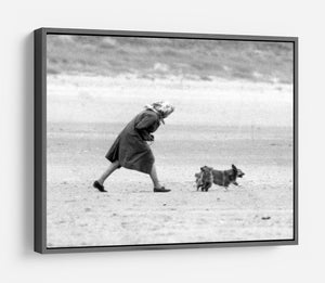 Queen Elizabeth II walking her pet corgis on a Norfolk beach HD Metal Print