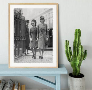 Queen Elizabeth II with Princess Margaret arriving at a wedding Framed Print - Canvas Art Rocks - 3