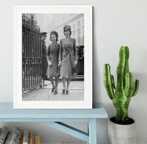 Queen Elizabeth II with Princess Margaret arriving at a wedding Framed Print - Canvas Art Rocks - 5