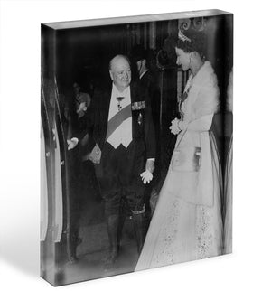 Queen Elizabeth II with Winston Churchill at Downing Street Acrylic Block - Canvas Art Rocks - 1