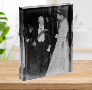 Queen Elizabeth II with Winston Churchill at Downing Street Acrylic Block - Canvas Art Rocks - 2