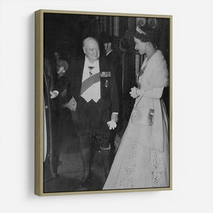 Queen Elizabeth II with Winston Churchill at Downing Street HD Metal Print