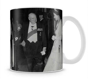 Queen Elizabeth II with Winston Churchill at Downing Street Mug - Canvas Art Rocks - 1
