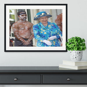 Queen Elizabeth II with an Aboriginal dancer in Australia Framed Print - Canvas Art Rocks - 1