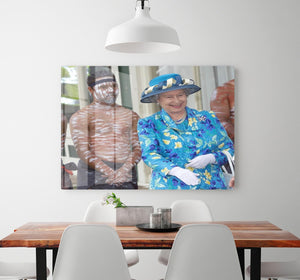 Queen Elizabeth II with an Aboriginal dancer in Australia HD Metal Print